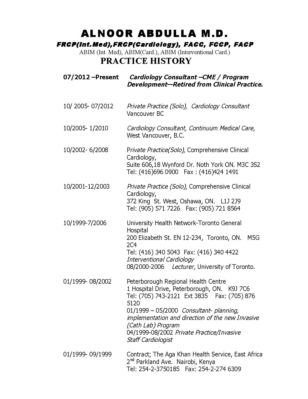 Practice History of Dr. Abdulla 2015